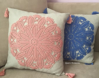 NEW - Crochet Doily Decorative Pillow Cover, Cream Linen Cushion Cover with Rose Pink Doily Appliqued and Tassels