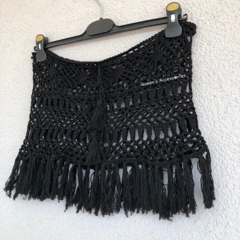 Fringed Beach Skirt Crochet Bohemian Black Skirt NEW Beach Cover Up