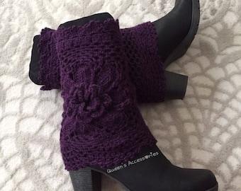 Best Selling Cuffs, Crochet Purple Boot Cuffs with Flower, Leg Warmers, Fall Winter Fashion Accessories