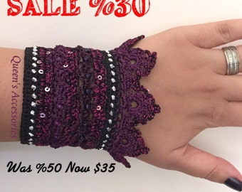 Beaded Crochet Cuff Bracelet, Purple Pink Black Bracelet, Freeform Bracelet, Fall Fashion Jewelry, Handmade