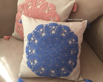 NEW - Crochet Doily Decorative Pillow Cover, Cream Linen Cushion Cover with Blue Doily Appliqued and Tassels
