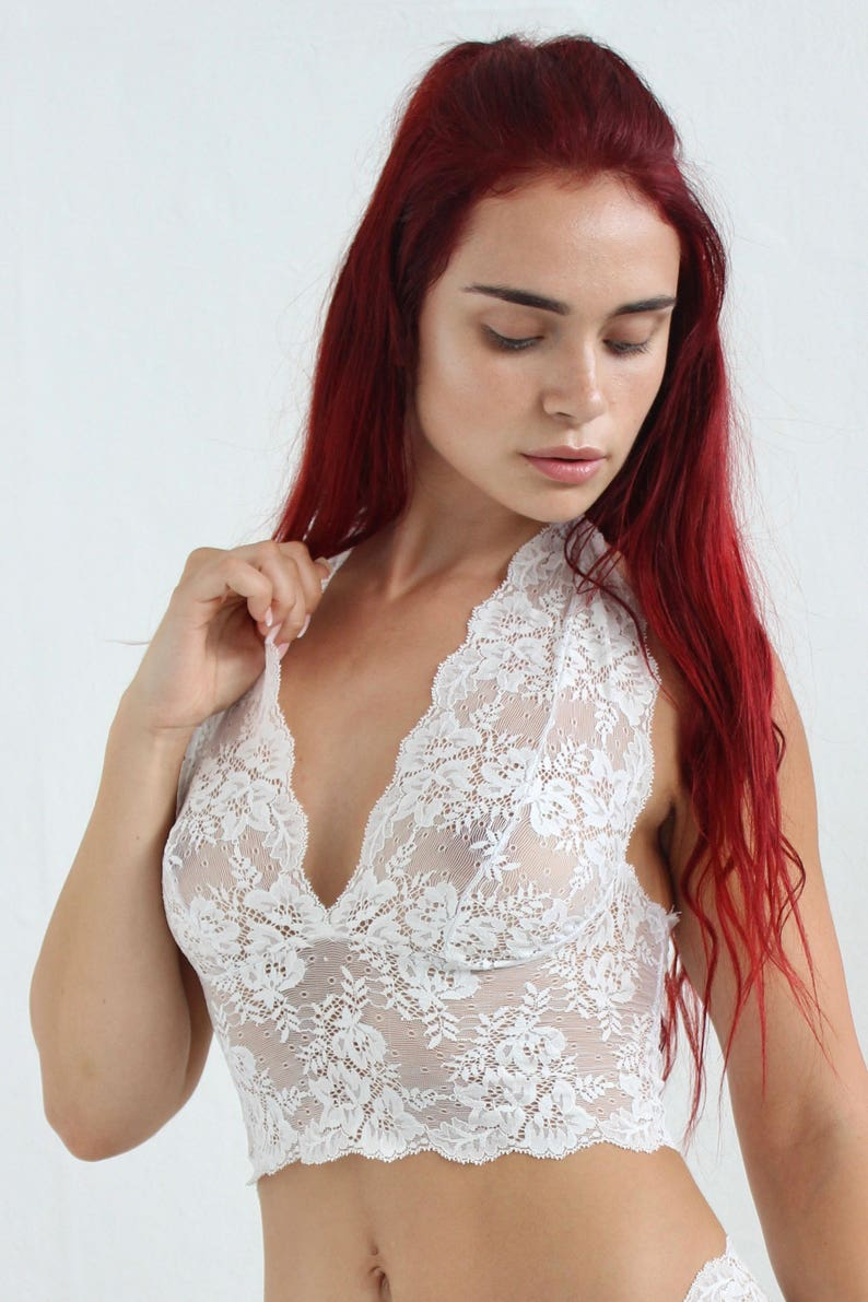 9dec1be5dd3a1 Bralette Bra Lace Bralette Lingerie Halter Top White