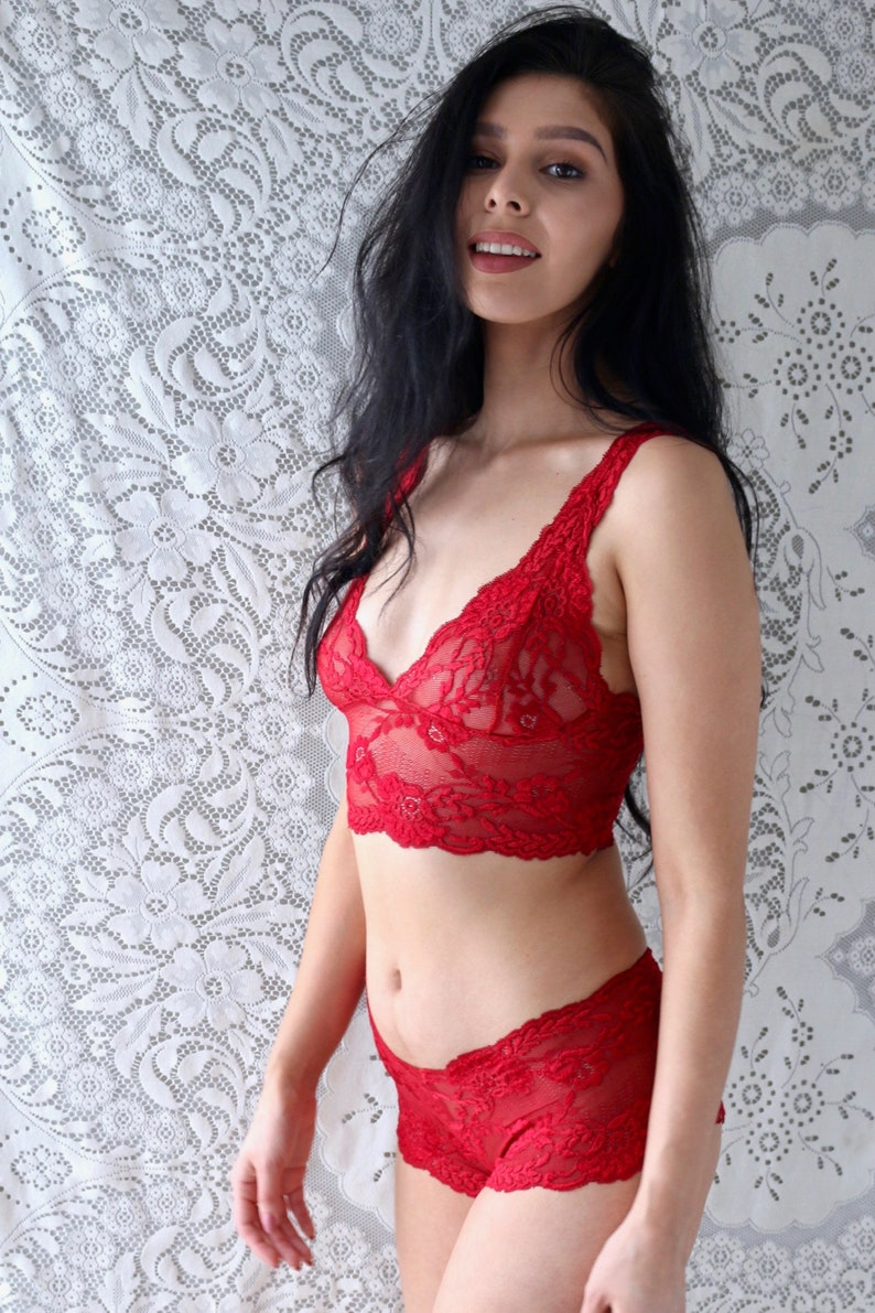 694fb129b86 Lingerie Set Red Lace Bralette Set Sheer Lingerie Lace | Etsy