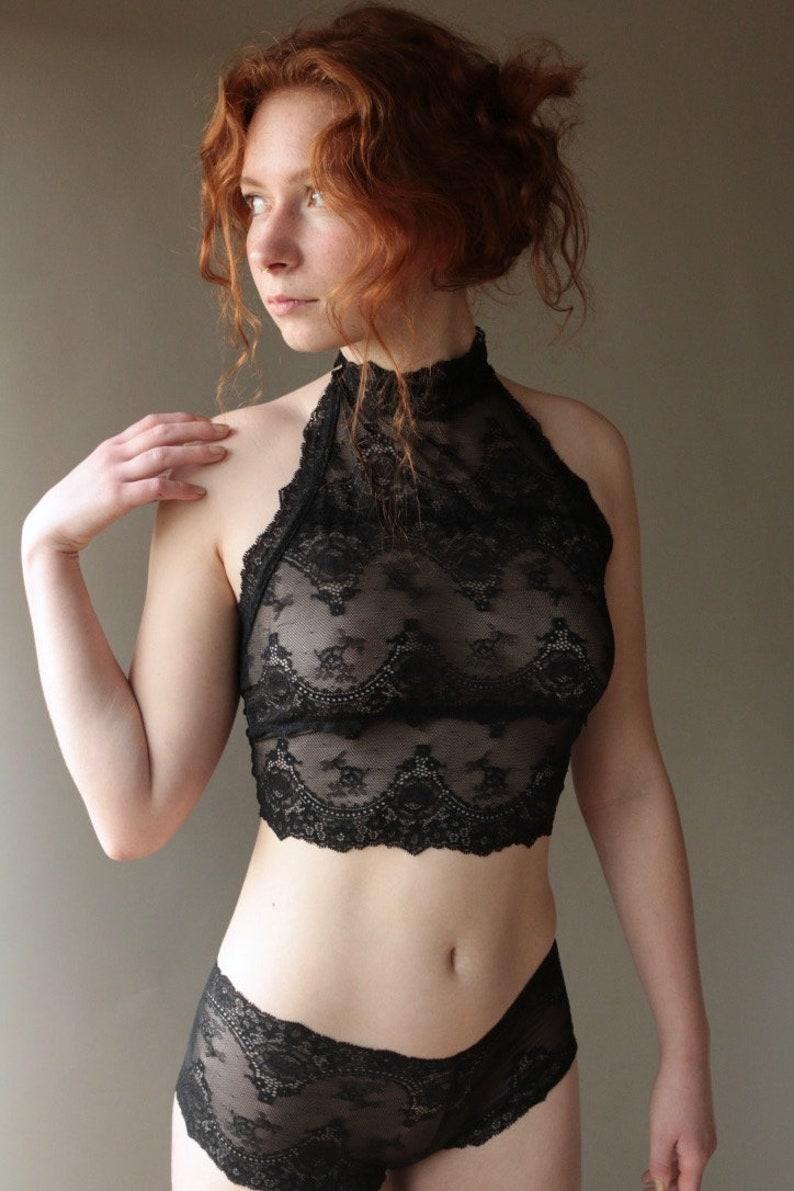 af3a8cc50a Sheer Black Lace Top See Through Boudoir Sexy Lingerie Crop