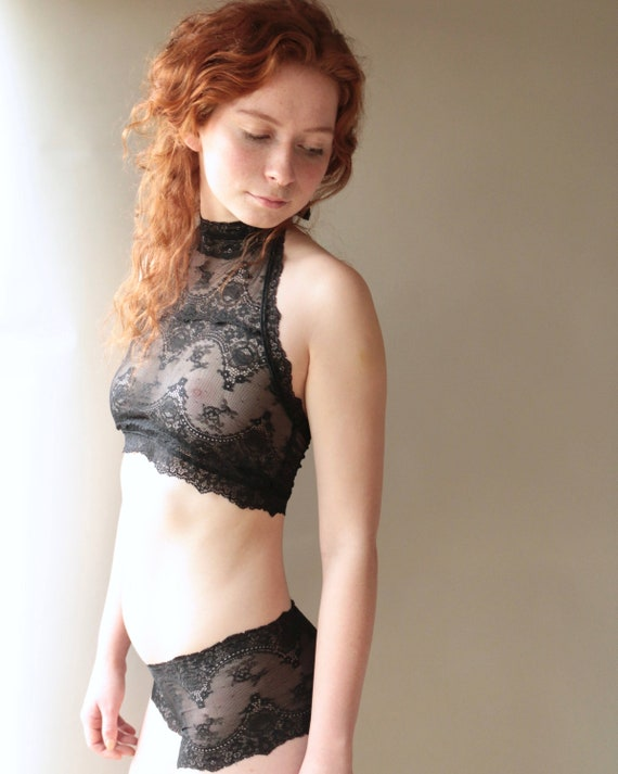 Lace lingerie black sheer lingerie black bralette lace halter  3ee234831