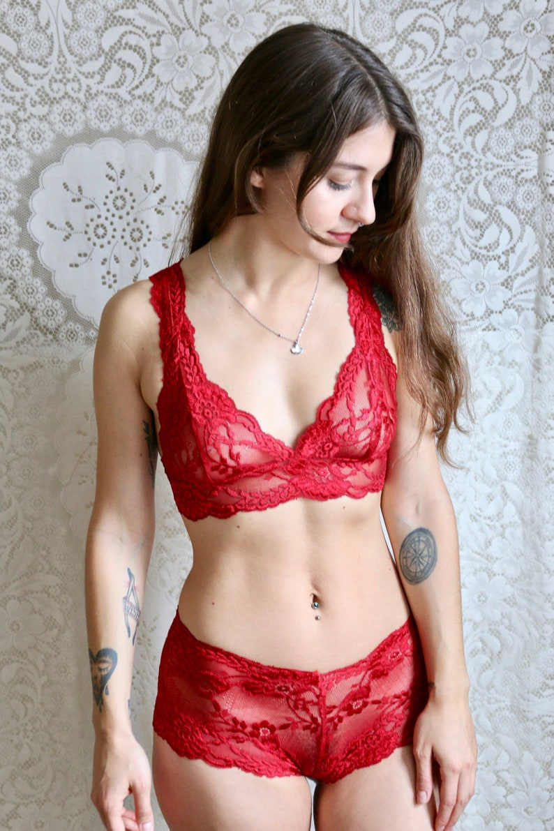 4a074585b7e Lingerie Set Red Lace Bralette Set Sheer Lingerie Lace