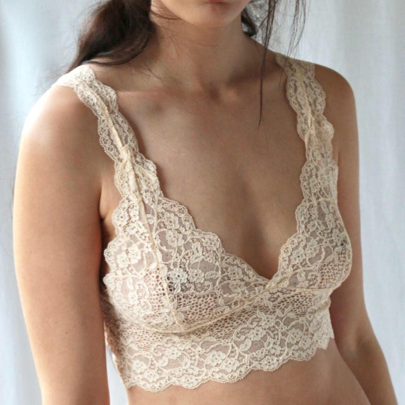 bd131d4e62 Nude lace bralette from beautiful vintage lace delicate