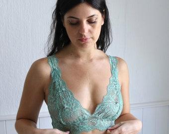 Green bra lace bralette soft bra floral lace in Apple Mint green lace lingerie lace underwear bralet