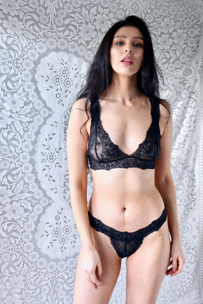 4069b1afbb6c90 Lingerie Gift for Her Sheer Black Lace Bralette and Thong Set