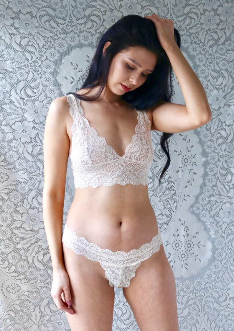 65fce3673e799 Nude lace bralette and thong lingerie set bridal lingerie