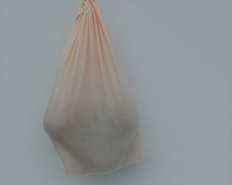 sampler pack of reusable produce vege bags  // made from repurposed tulle/nylon // available in pink // small medium & large