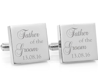 Personalized Wedding cufflinks - Engraved square silver cufflinks - Father of the Groom personalised gift (stainless steel cufflinks)