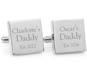 Fathers Day gift - My Daddy Engraved personalised square silver cufflinks - personalized gift for Dad (stainless steel cufflinks)