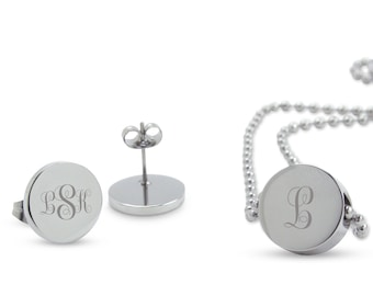 """The """"Addison"""" Personalised silver pendant & earrings gift set - letter initial monogram jewellery - Perfect personalized gift for her"""