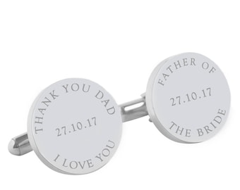 Personalised Wedding cufflinks for the Father of the Bride - I Love you Dad Personalized round silver cufflinks for your wedding