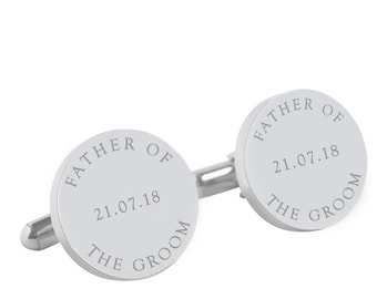 Father of the Groom Personalised Wedding cufflinks, Father of the Bride Personalized round silver cufflinks for your wedding