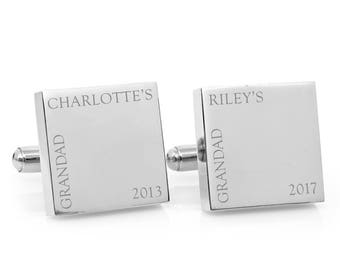Personalized silver cufflinks - Our Grandad - Engraved personalised square cufflinks - Fathers Day gift for Grandfather