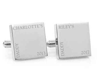 Fathers Day personalised gift - Our Daddy Engraved square silver cufflinks - personalized Christmas gift for Dad (stainless steel cufflinks)