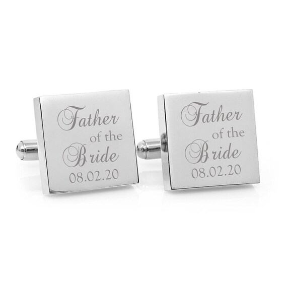 Silver Rectangle Engraved Personalised Father of the Groom Wedding Cufflinks
