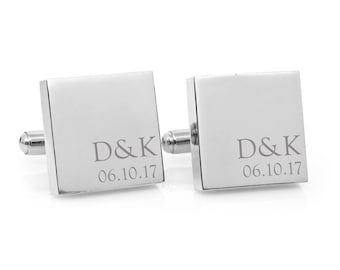 Wedding Anniversary Minimalist Couple Monogram engraved square silver cufflinks - personalized gift for anniversary,  wedding, Fathers Day
