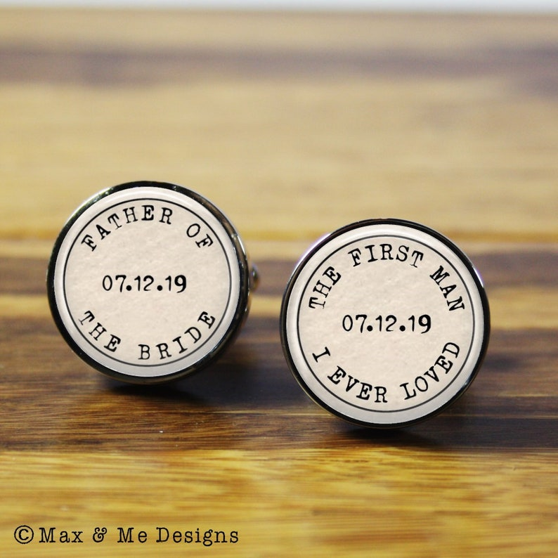 silver cufflinks A personalised gift for your wedding day Father of the Bride First Man I Ever Loved Personalized wedding cufflinks