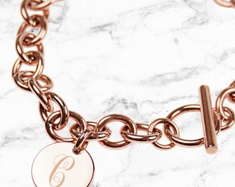 Rose Gold bracelet, engraved letter initial monogram- Perfect personalised gift for your sister, bestie or Bridesmaid (Made in Australia)