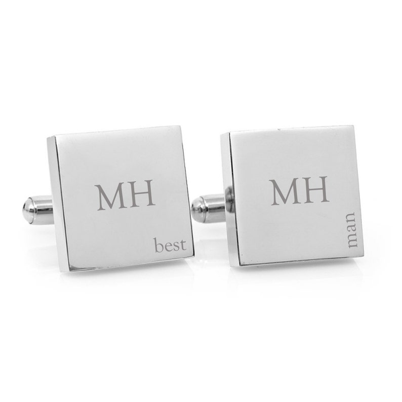 Best Man Wedding cufflinks Engraved personalized cufflinks for your bridal party Personalised square silver cufflinks for Groomsman