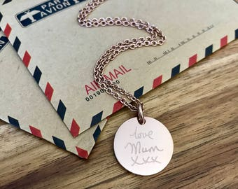 Mother's Day gift - Engraved ROSE GOLD pendant necklace with a handwritten note - Personalised pendant, custom engraving, wedding gift