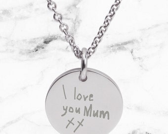 Engraved handwriting on silver pendant necklace for Mum - Perfect personalized gift for Mother's Day, custom engraving from handwriting