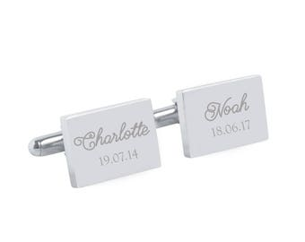My children - Fathers Day Gift for Dad - Personalised rectangle stainless steel cufflinks, New Dad, personalized gift (Made in Australia)