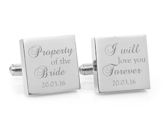 Engraved personalized square silver cufflinks - Property of the Bride personalised gift for the Groom (stainless steel cufflinks)