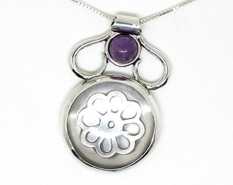 Silver Crystal and amethyst pendant, Romantic jewelry, silver flower necklace, OOAK.