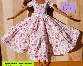 Barbie doll dress clothes fashion white pink flowers floral romance pretty organic cotton eco fair plastic free sustainable fabric - no 06
