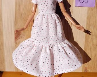Barbie doll dress clothes fashion white red dots romance pretty organic cotton eco fair plastic free sustainable fabric - no 08