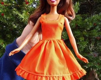 Barbie doll dress clothes fashion orange summer romance pretty organic cotton eco fair plastic free sustainable fabric - no 17