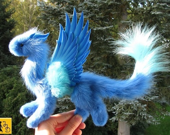 MADE TO ORDER angel dragon posable doll blue wings sky fantasy pet miniature faux fur Jerseydays