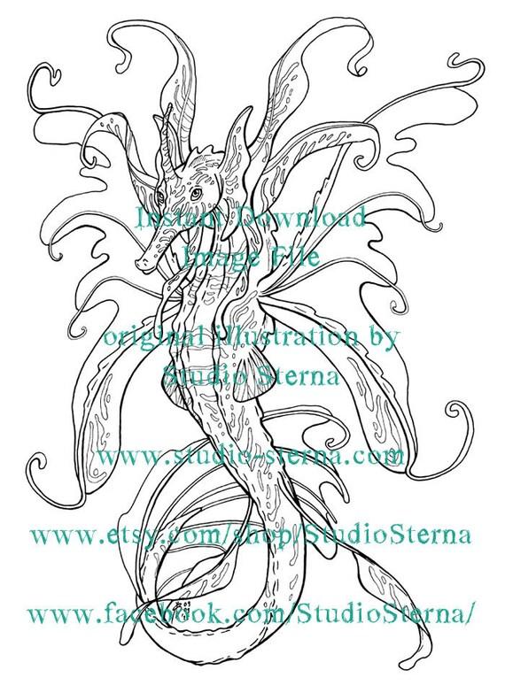 Drache Seepferdchen Zeichnung Art Digital Download Bild Design Etsy