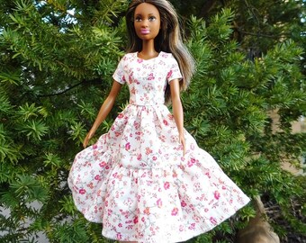 Barbie doll dress clothes fashion white pink flowers floral romance pretty organic cotton eco fair plastic free sustainable fabric