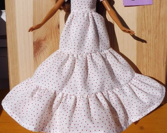 Barbie doll dress white red dots romance pretty organic cotton eco fair plastic free sustainable fabric - no 05