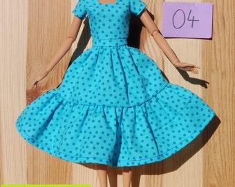 Barbie doll dress clothes fashion white blue turquoise dots romance pretty organic cotton eco fair plastic free sustainable fabric - no 04