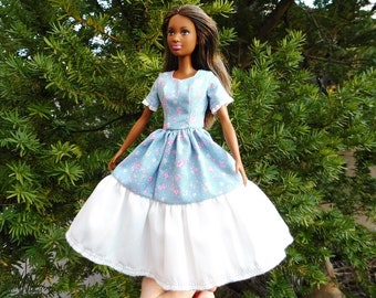 Barbie doll dress clothes fashion blue pink flowers floral white romance pretty organic cotton eco fair plastic free sustainable fabric