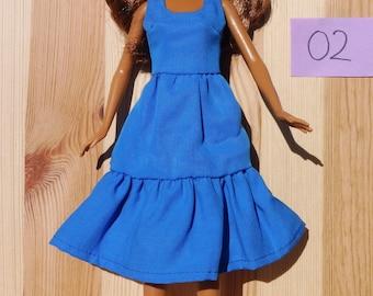 Barbie doll dress blue pretty soft organic cotton eco fair plastic free sustainable fabric - no 02