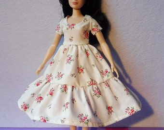 Barbie Curvy doll dress clothes fashion white pink roses flowers floral organic cotton eco fair plastic free sustainable fabric - no 14