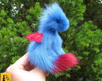 MADE TO ORDER baby pet dragon posable doll blue red fantasy miniature faux fur handmade Jerseydays