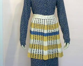 Vintage Lacy Crocheted Skirt Apron Cream Blue Gold