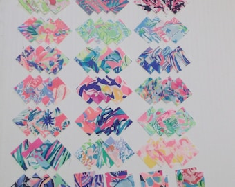 953753b1feea Preppy Colorful Lilly Pulitzer Fabric Quilt Squares 2x2 108pcs