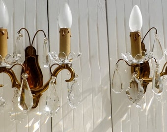 PAIR Of French Crystal Sconces / Crystal Glass Wall Lights With Prisms And  Droplets / French Home Decor Paris Apartment Chic