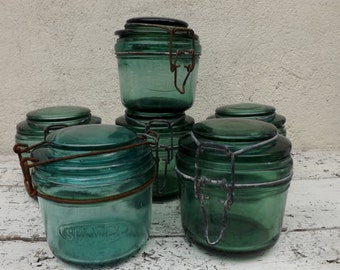 6 French vintage green glass canning jars conserving jars preserving jars green glassware mason jars French kitchenalia Solidex L'Ideale