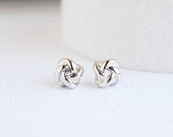 White Gold Knot Earrings, Knot Earrings, White Gold  Studs, Bridal Earrings, Silver Earrings, Everyday Earrings, Bridesmaid Earrings