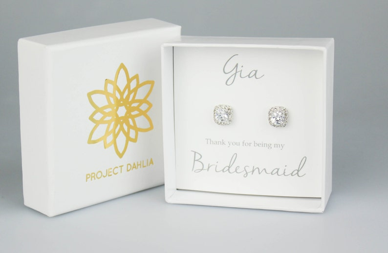 Everyday Earrings Bridesmaid Gift White Gold Earrings Bridesmaid Earrings White Gold Studs Bridesmaid Jewelry Bridal Earrings